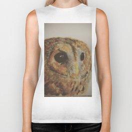 Watercolor Tawny Owl Painting Biker Tank