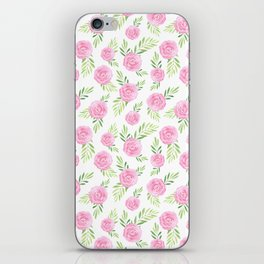 Blush pink green modern watercolor hand painted camellias iPhone Skin