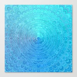 Light Blue Floral Circle Mandala Canvas Print