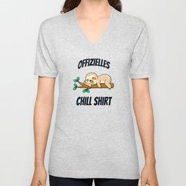 Chill Shirt Lustiges Faultier Müdigkeit Schlaf Unisex V-Neck