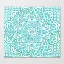 Sea Green Ombre, Indian Mandala Pattern Canvas Print
