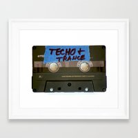 techno Framed Art Prints featuring TECHNO by The Family Art Project