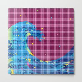 Great Wave in checked pattern_G Metal Print