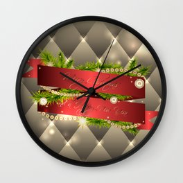 Christmas illustration with red ribbon and decorative elements Wall Clock