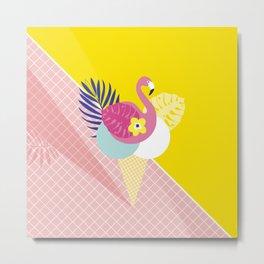 Pink Flamingo Summer Ice cream scoops #summervibes Metal Print
