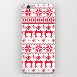 Red Scandinavian Penguin Holiday Design iPhone Skin