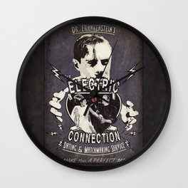 Dr. Frankenstein's The Electric Connection: Dating & Matchmaking Service- Old Metal Sign Wall Clock