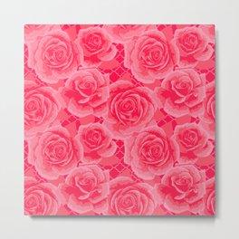Pink Painted Roses Metal Print
