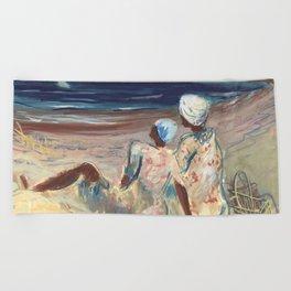 On the Beach by Victor Laredo Beach Towel