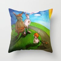rabbits Throw Pillows featuring Rabbits by András Balogh