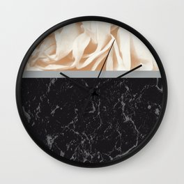 Cafe Au Lait Flower Meets Gray Black Marble #2 #decor #art #society6 Wall Clock