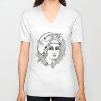 sweden V-neck T-shirts featuring Christina of Sweden by Adrienne S. Price