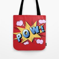 superheroes Tote Bags featuring superheroes by mark ashkenazi