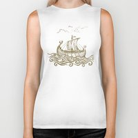 rowing Biker Tanks featuring Viking ship by mangulica