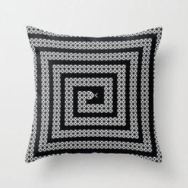 Graphic Decorative Geometric Snake, White on Black  Throw Pillow