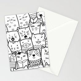 Black and White Cat Expressions Stationery Cards