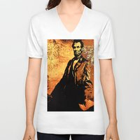 lincoln V-neck T-shirts featuring Abraham Lincoln by Saundra Myles
