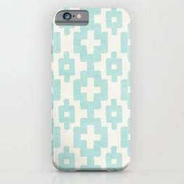 Pastel Marine Blue Turquoise Geometric Watercolor Aztec Pattern Cute Light Hearted Style iPhone Case
