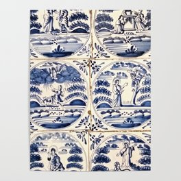 Dutch Delft Blue Tiles Poster