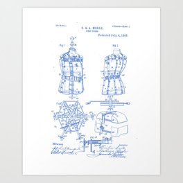 Bust Form Vintage Patent Hand Drawing Art Print