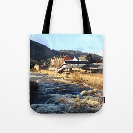 Llangollen Railway Station by the River Dee, Wales Tote Bag
