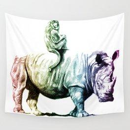 Golden Monkey on a Rainbow Rhino by Aaron Bir Wall Tapestry