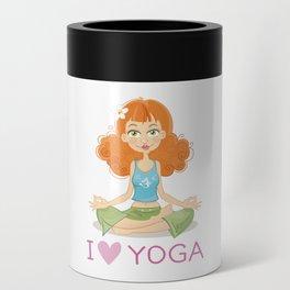 Cute Yoga Girl Sitting in Lotus Pose Can Cooler