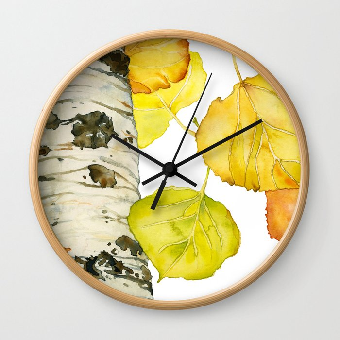 Falling Aspen Leaves Wall Clock