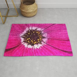 Pink African Daisy Flower Floral Painting Rug
