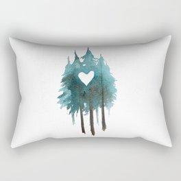 Forest Love - heart cutout watercolor artwork Rectangular Pillow