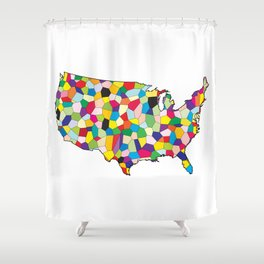 USA Flag Map Patchwork Shower Curtain