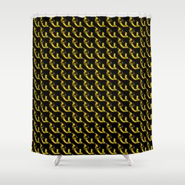 YELLOW AND BLACK CHAINLINK PATTERN FOR GROOVY PEEPS Shower Curtain