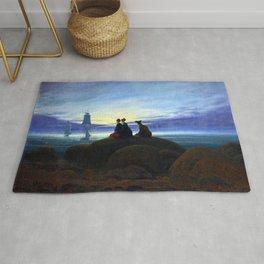 Caspar David Friedrich Moonrise over the Sea Rug