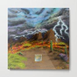 Reflective Desert Thunder Metal Print
