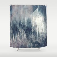 ashton irwin Shower Curtains featuring Dream in Grey by Adaralbion