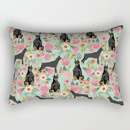 Doberman Pinscher florals must have dog breed gifts for dog person with doberman Rectangular Pillow