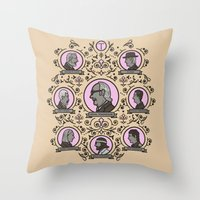 royal tenenbaums Throw Pillows featuring The Royal Tenenbaums and friends by M. Gulin