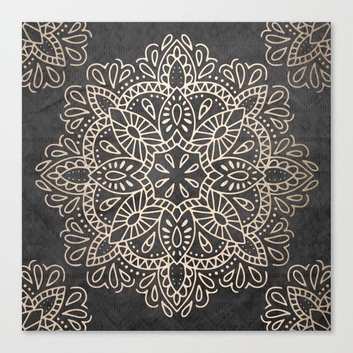 Mandala White Gold on Dark Gray Leinwanddruck