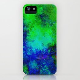Awaken - Blue, green, abstract, textured painting iPhone Case