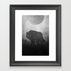Black and White Wolf Moon Silhouette  Framed Art Print