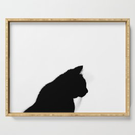 Black cat silhouette Serving Tray