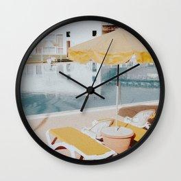 vintage summer poolside Wall Clock