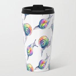 Rainbow Crystal Clear Snails Travel Mug