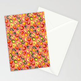 Watercolor fruit pattern on pink background Stationery Cards
