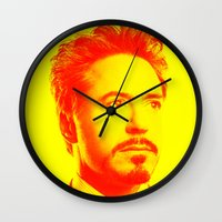 robert downey jr Wall Clocks featuring R. Downey Jr. ***** by Hands in the Sky