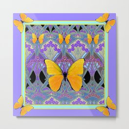 Pastel Lilac yellow butterflies Art Nouveau Design Metal Print