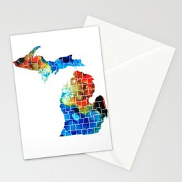 Michigan State Map - Counties by Sharon Cummings Stationery Cards