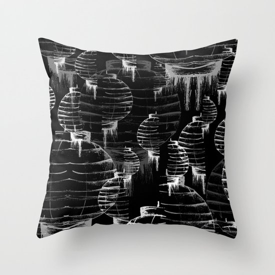 Lantern - black Throw Pillow