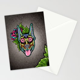 Doberman with Cropped Ears - Day of the Dead Sugar Skull Dog Stationery Cards