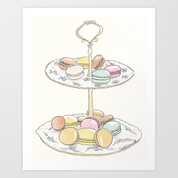 French Macarons Take a Stand, French Paris Pastry illustration Kunstdrucke